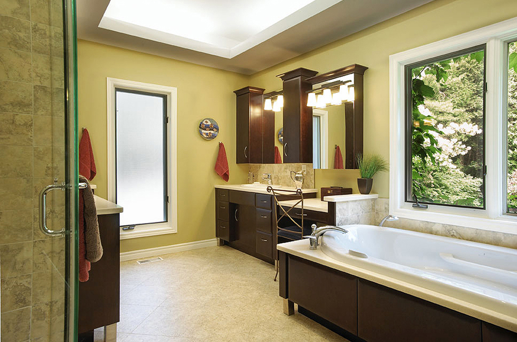 Nice Bathroom Remodeling with Moveable Tub Next to Windows with Outside View