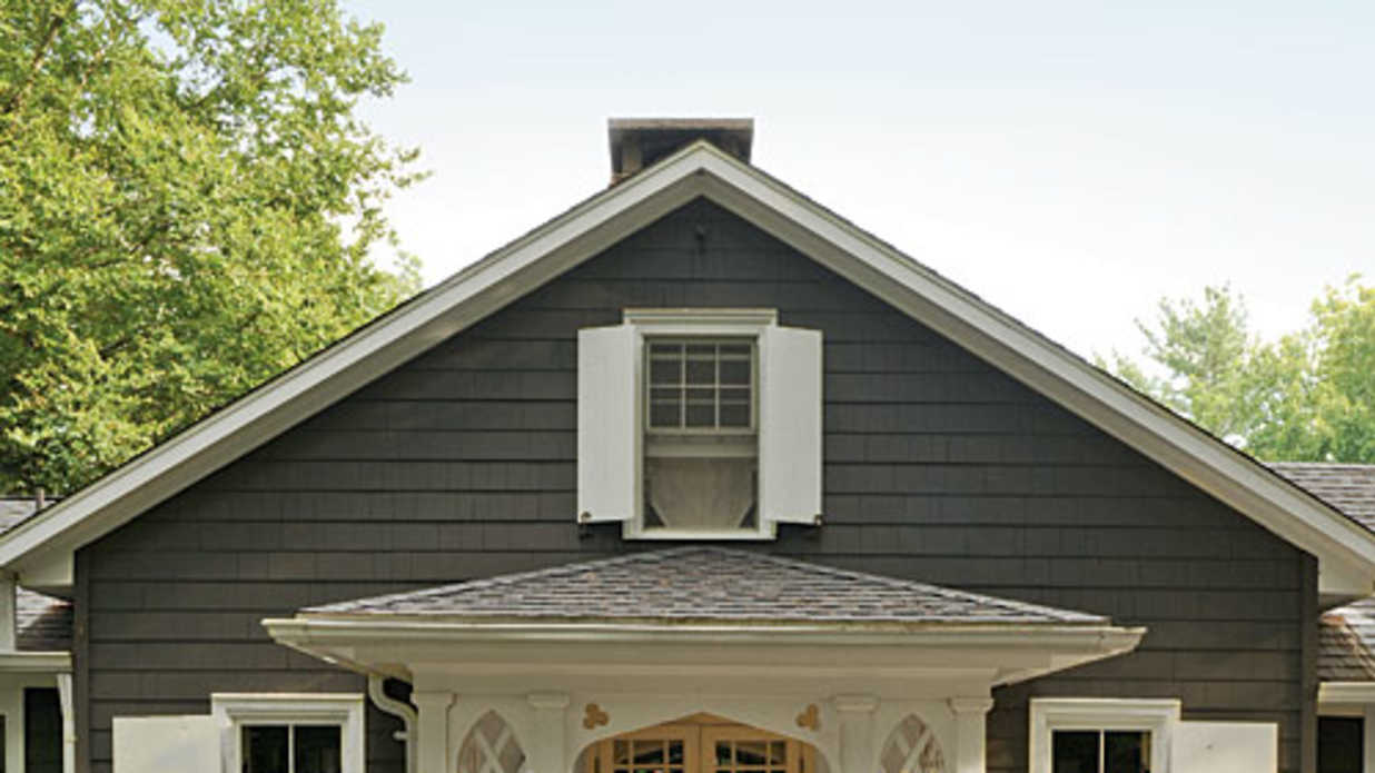 Nice Grey Shingled Gable to Complete Exterior Paint Ideas with White Window Shutters