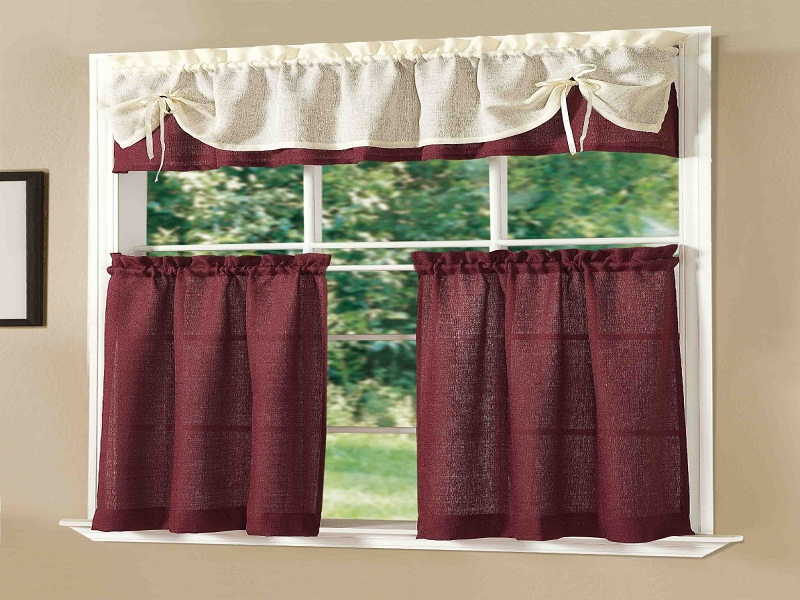 Nice Kitchen Curtain ideas for Lower and Top Parts of Ample Window to Give You Privacy