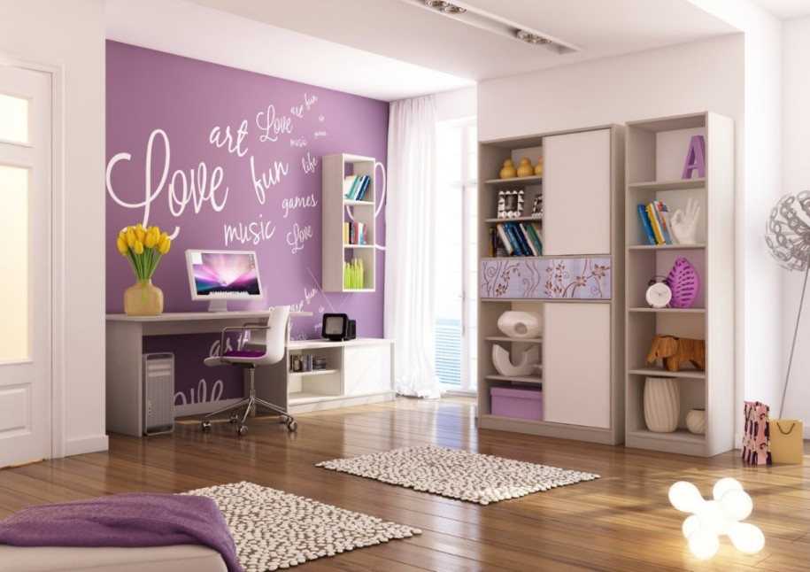 Nice Wall Mural for Girl Room Focal Point in Purple to Meet other White Furniture