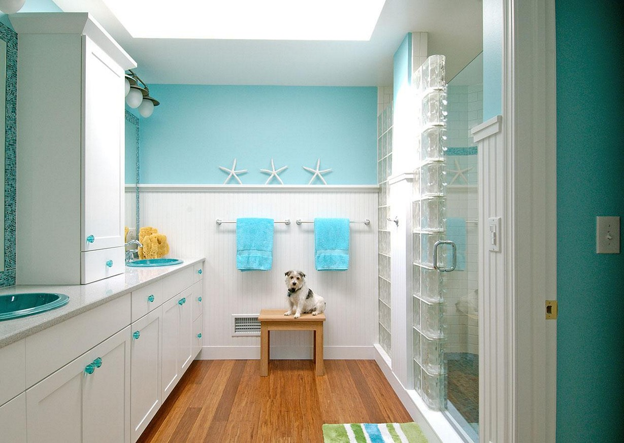 Ocean Themed Kids Bathroom Idea With White Furniture And Star Fish  Decoratioin Part 21