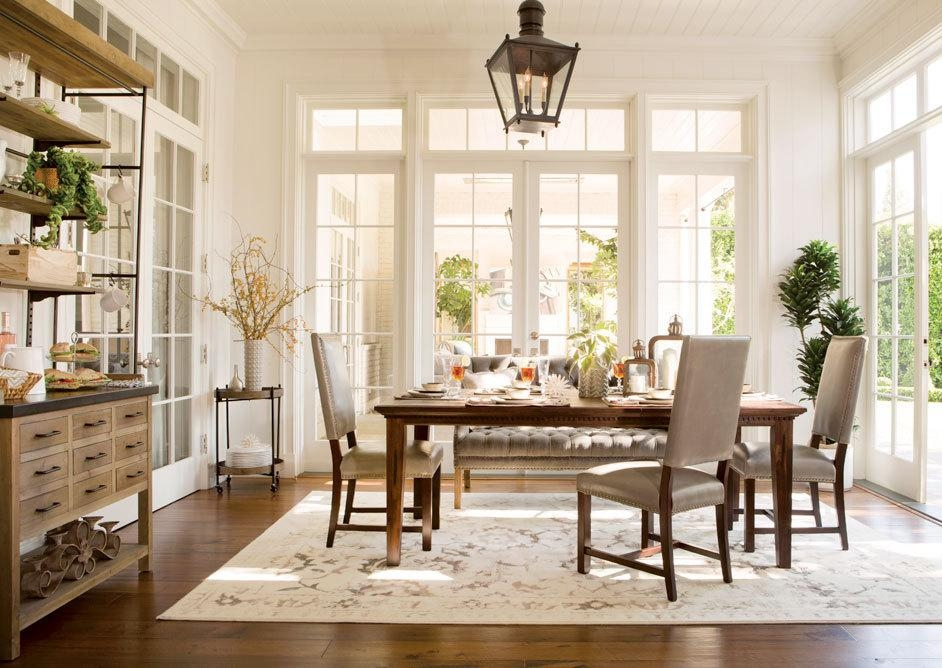 Old Fashioned Dining Room using Rustic Living Spaces Furniture with Oak Table and Tufted Grey Bench