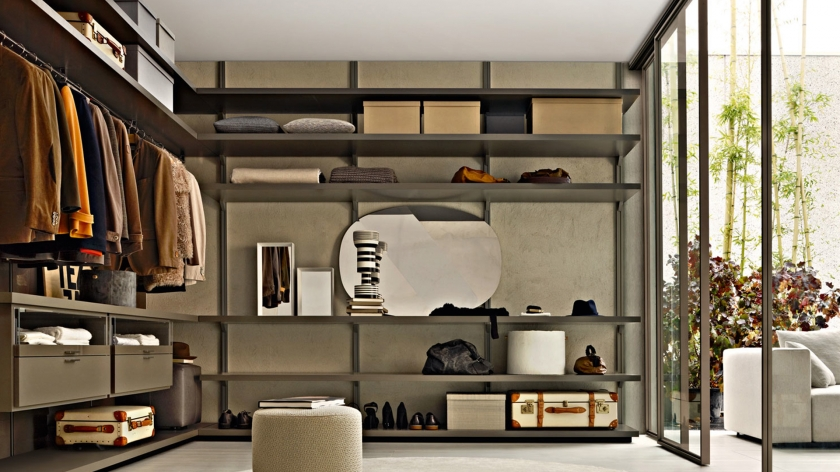 Good Old Fashioned Walk In Closet Design With Grey Shelves And Long Clothes  Hangers