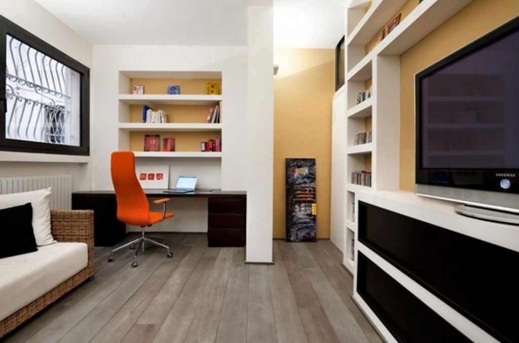 Attrayant Orange Swivel Chair And Solid Oak Desk Completing Open Home Office Ideas  With White Bookshelves