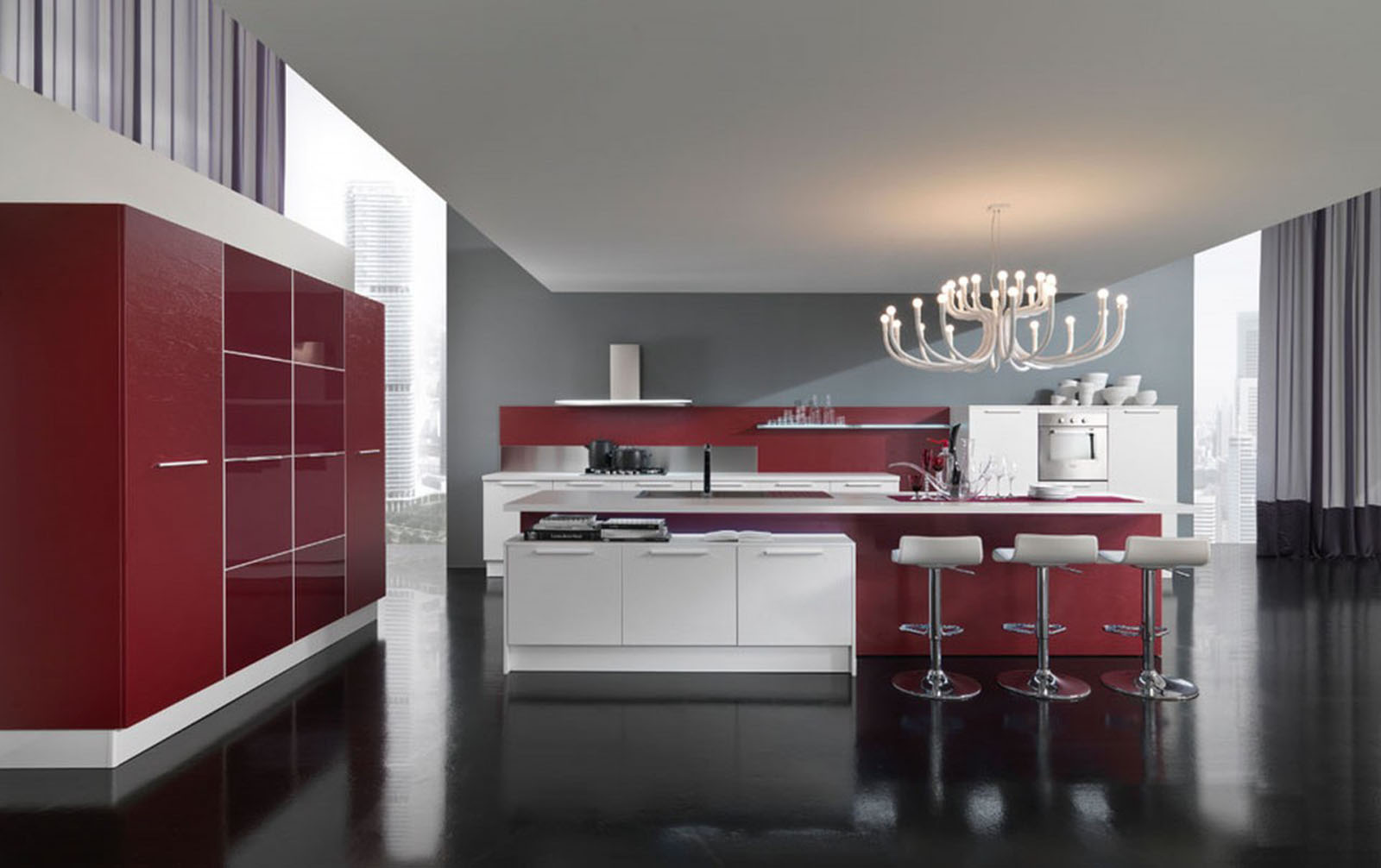 Parallel Kitche Floor Plans with Cabinet and Island Completed with Creative Coloring Scheme