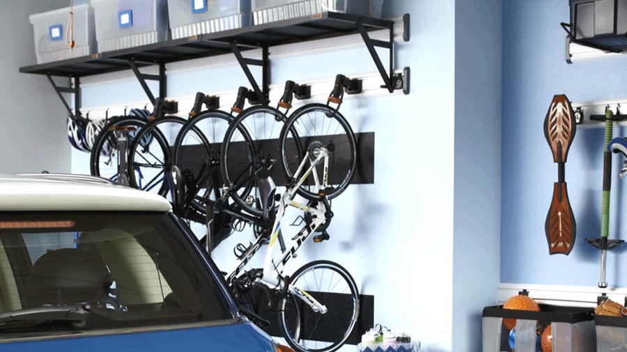 Perfect Garage Organization Ideas with Well Kept Bicycles on Wall and Shelf over Them