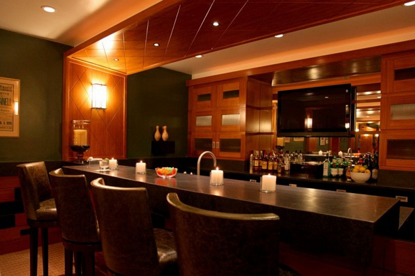 Perfect Idea of Home Bar Lighting with Ceiling and Wall Lamps Completed with some Candles