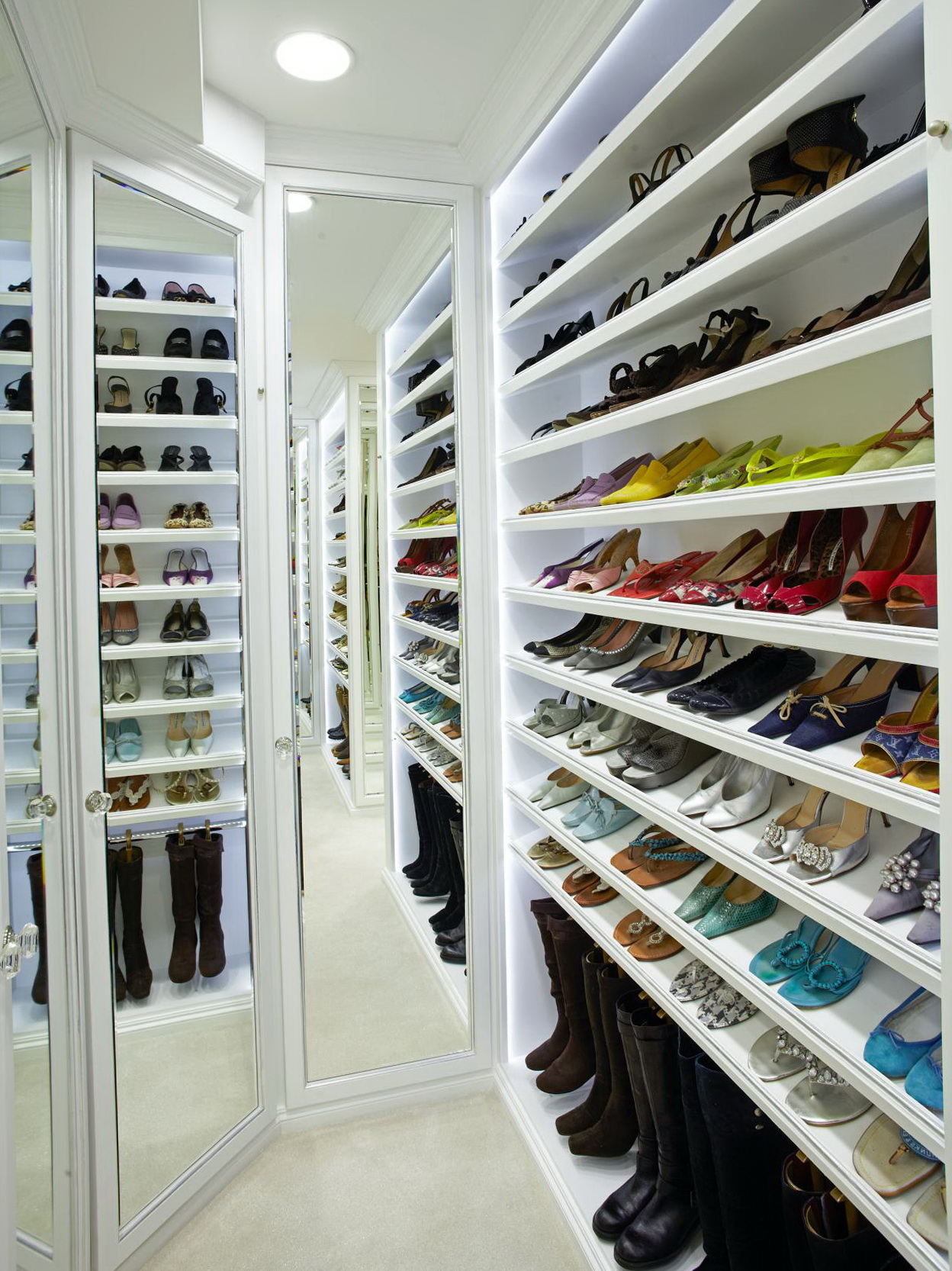 Perfect Walk in Closet with Special Space to Keep Shoe with White Shoe Storage