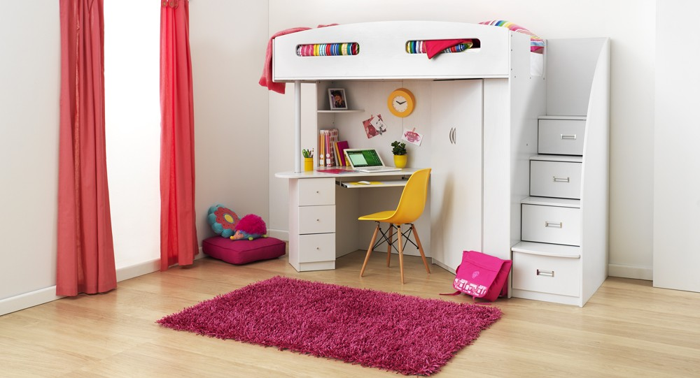 Pink Carpet Rug and White Bunk Bed with Desk Placed inside Lovely Girl Bedroom using Oak Flooring