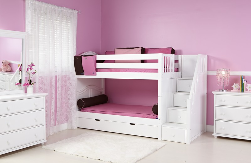 Pink Painted Wall Completing Lovely Bedroom with White Bunk Beds for Girls and Classic Dresser