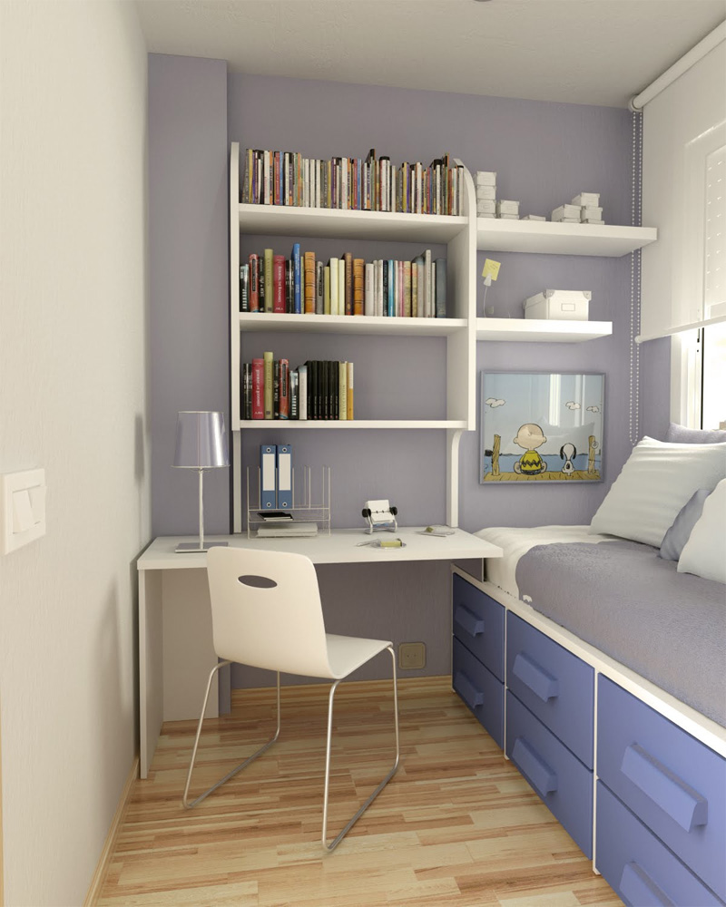 Place Books in White Bookshelves for Appealing Small Room Ideas with White Desk and Chair on Hardwood Flooring
