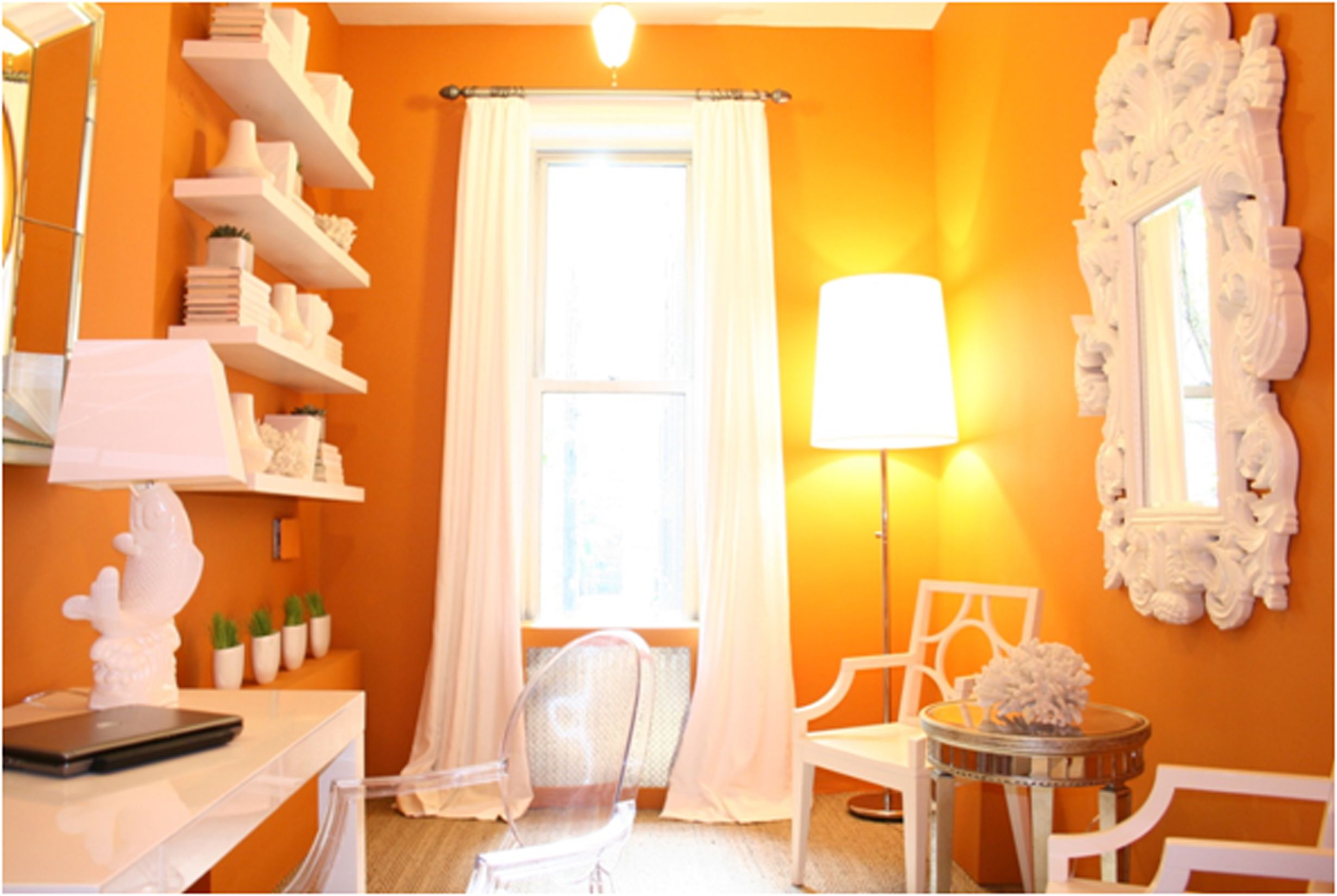 Place Bright Floor Lamp inisde Small Room using Fall Decorating Ideas with Artistic Wall Mirrr and White Chairs
