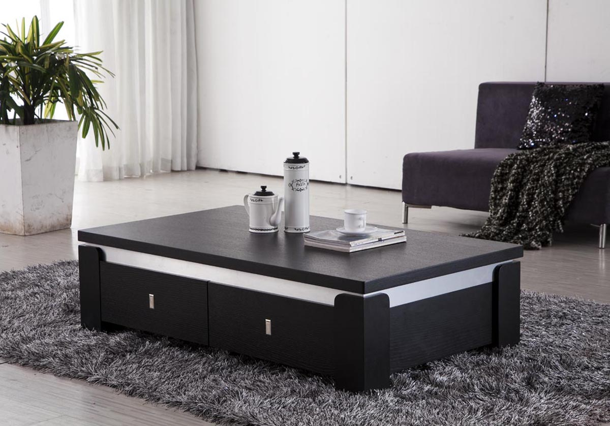 Place Dark Coffee Table with Storage in Spacious Room with Grey Carpet Rug and Laminate Flooring