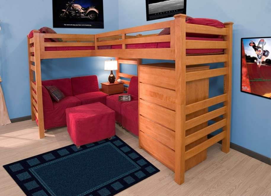 Place Red Sofas and Ottoman under Simple Oak Toddler Bunk Beds with Red Bedding