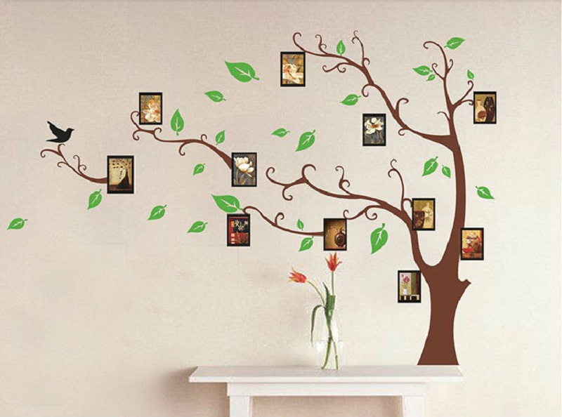 Place Small Photos on Beautiful Tree Wall Mural as Enchanting Family Picture Ideas inside Simple Room