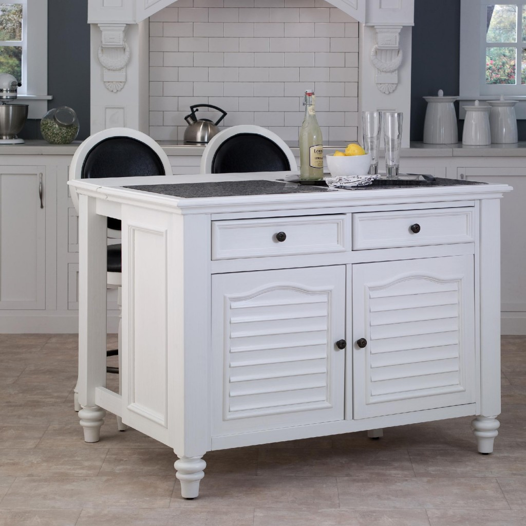 Place White Portable Kitchen Island and Black and White Stools inside Classic Kitchen with Clasic Cabinets