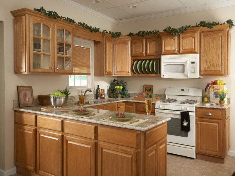 Place White Stove In Natural Oak Counter Inside Small Kitchen Decorating  Ideas With Marble Countertop