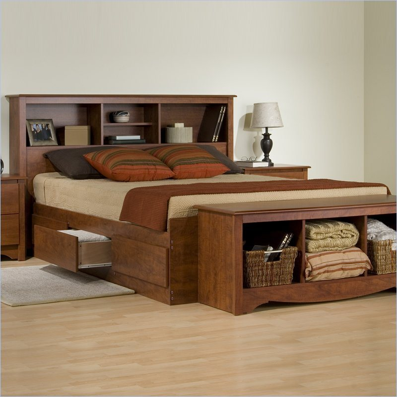 Exceptionnel Place Wide Wooden Bed With Full Size Shelved Headboards And Lower Storage  On Laminate Oak Flooring