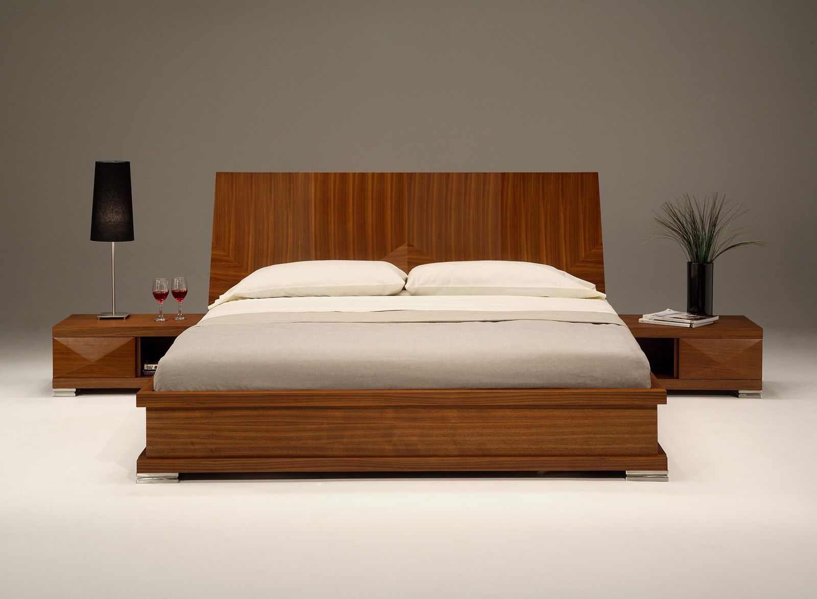 Place Wooden Bed and Laminate Nightstands for Modern Bedroom Furniture on White Concrete Flooring