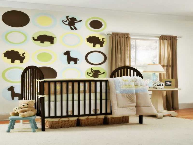 Playful Idea To Complete Baby Boy Room Interior With Animal Decals And Dolls