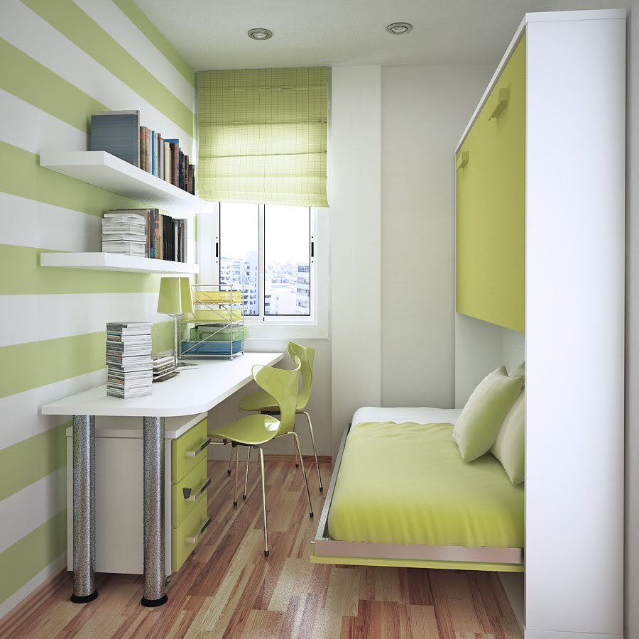 Pulled Bunk Beds and White Table in Small Room Ideas with Floating Bookshelves