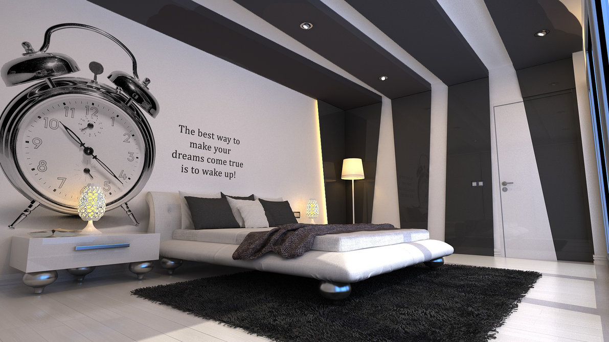 Bedroom designs for boys black - Rectilinear Decorative Black Trims In Custom Shape And Printed Letters On Wall For Bedroom Decor