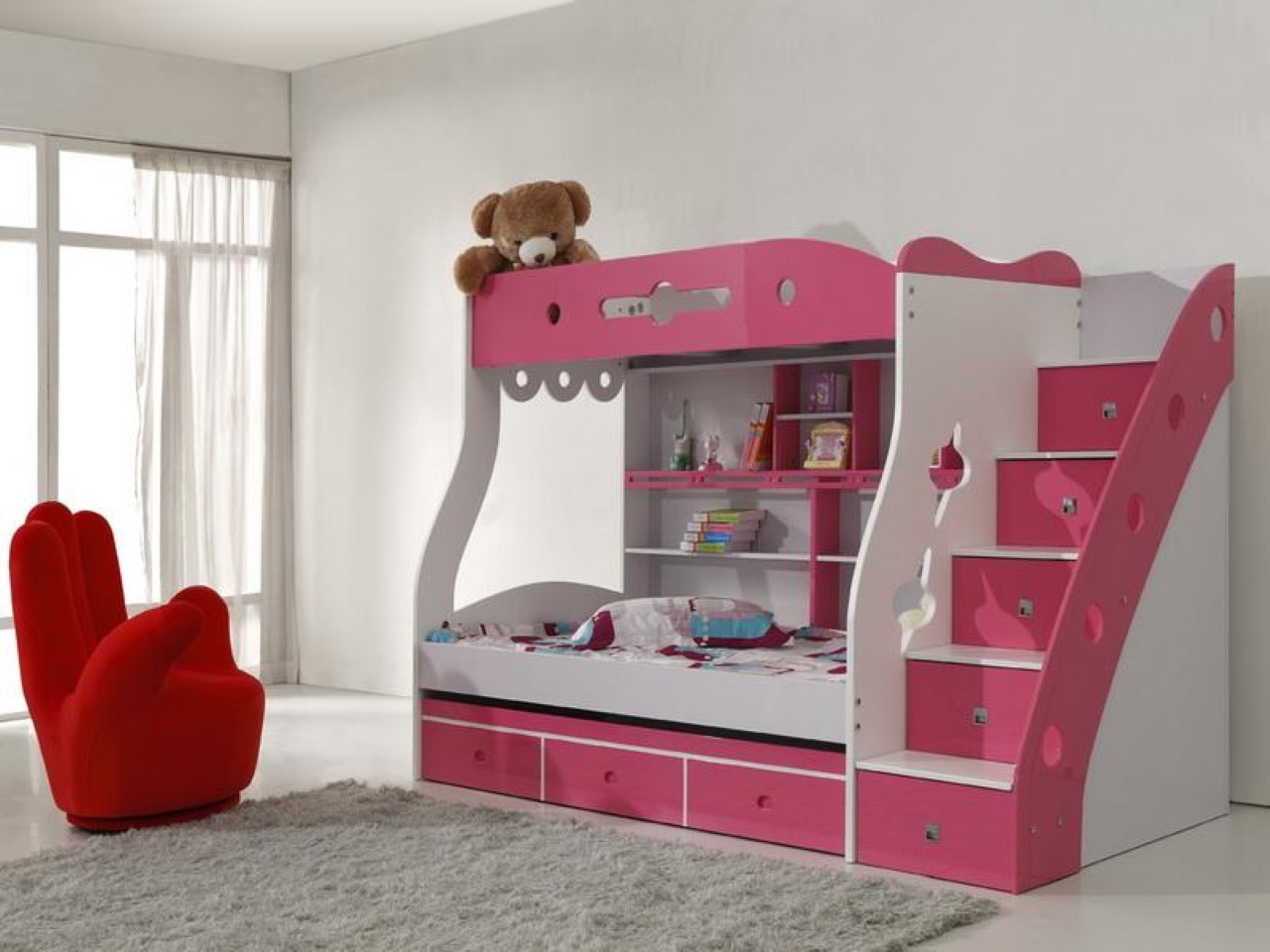 Red Hand Shaped Chair and Pink Bunk Beds for Girls near Grey Carpet Rug on White Flooring