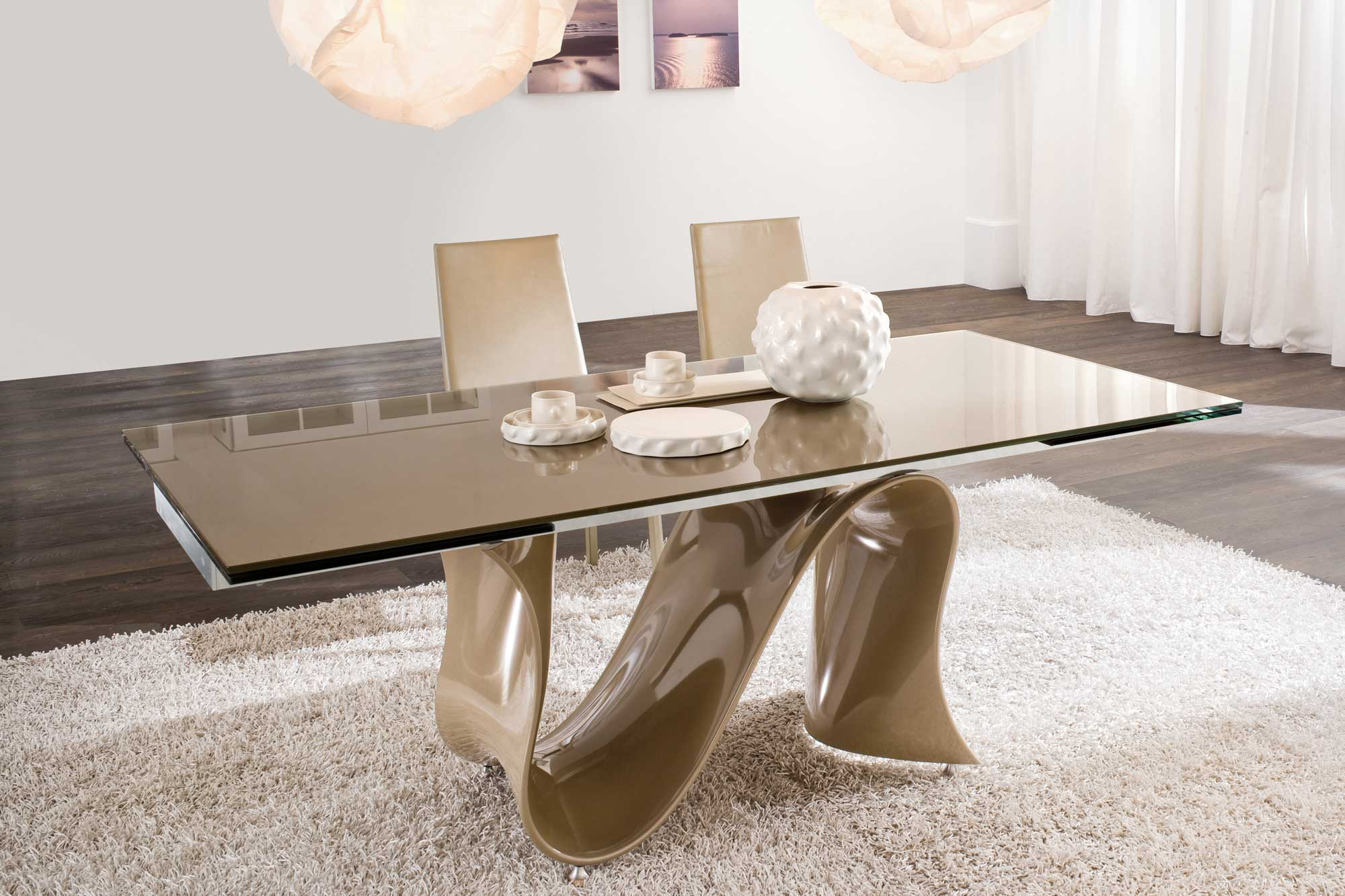 Reflective Surface Of Cream Modern Dining Table With Cream Chairs On Carpet  Rug Near Hardwood Flooring