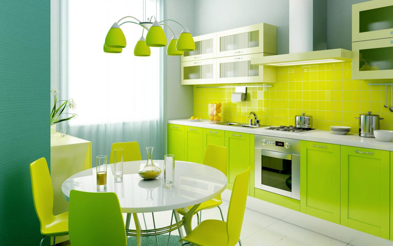 Refreshing Green Kitchen Cabinet Color with Simple Tiled Backsplash Completed in Glossy Finishing