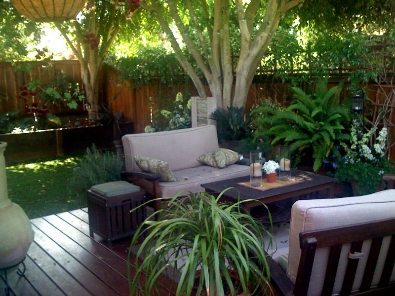 Refreshing Small Patio Idea with Dense of Greens Furnished with Outdoor Sofa and Side Table