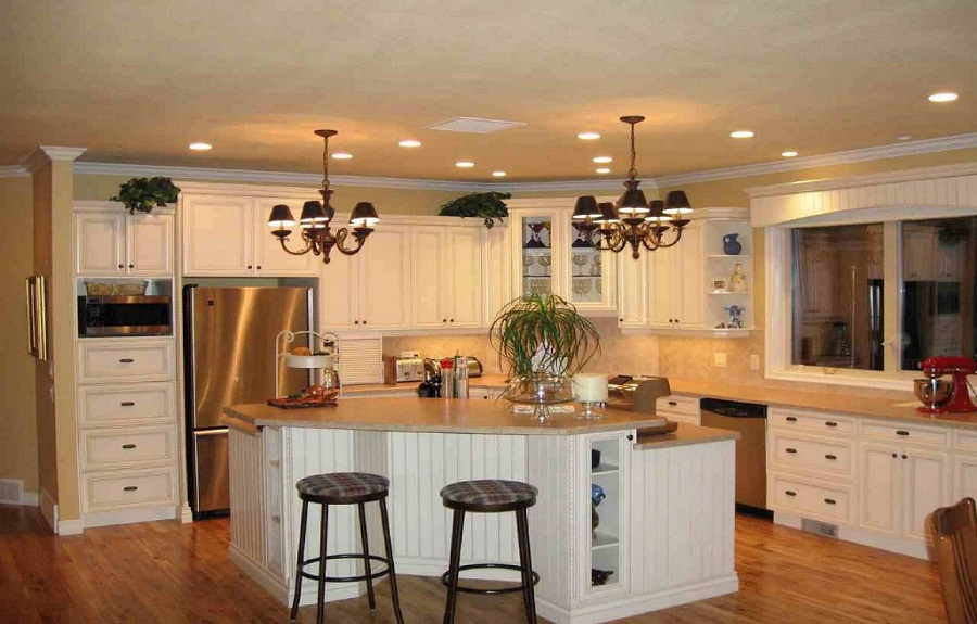 Retro Style Kitchen Remodeling Ideas with Green and Double Chandeliers