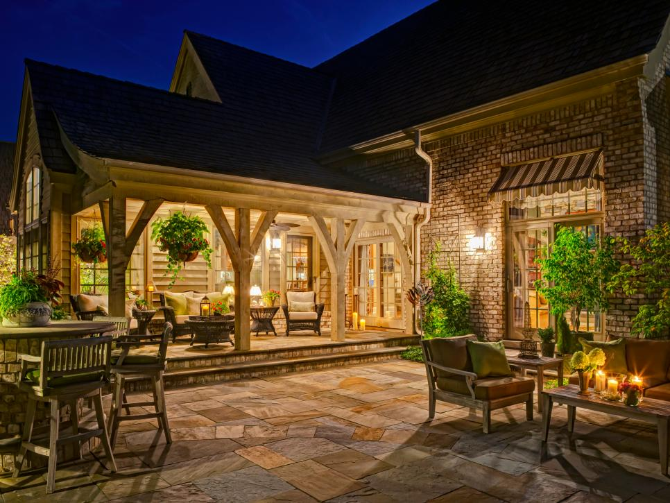 Roofed Outdoor Patio with Seating Units Combined with Open Patio with more Seating Units