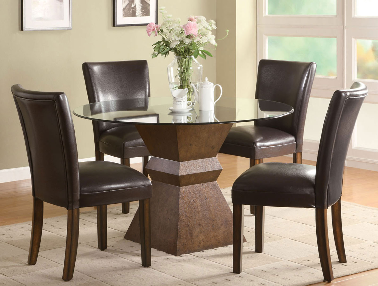 Round Glass Top for Small Kitchen Table inside Tiny Dining Area with Black Leather Chairs