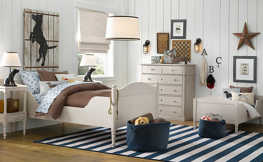 Rustic Boys Room Ideas with White Single Bed and Small Side Tables near White Dresser