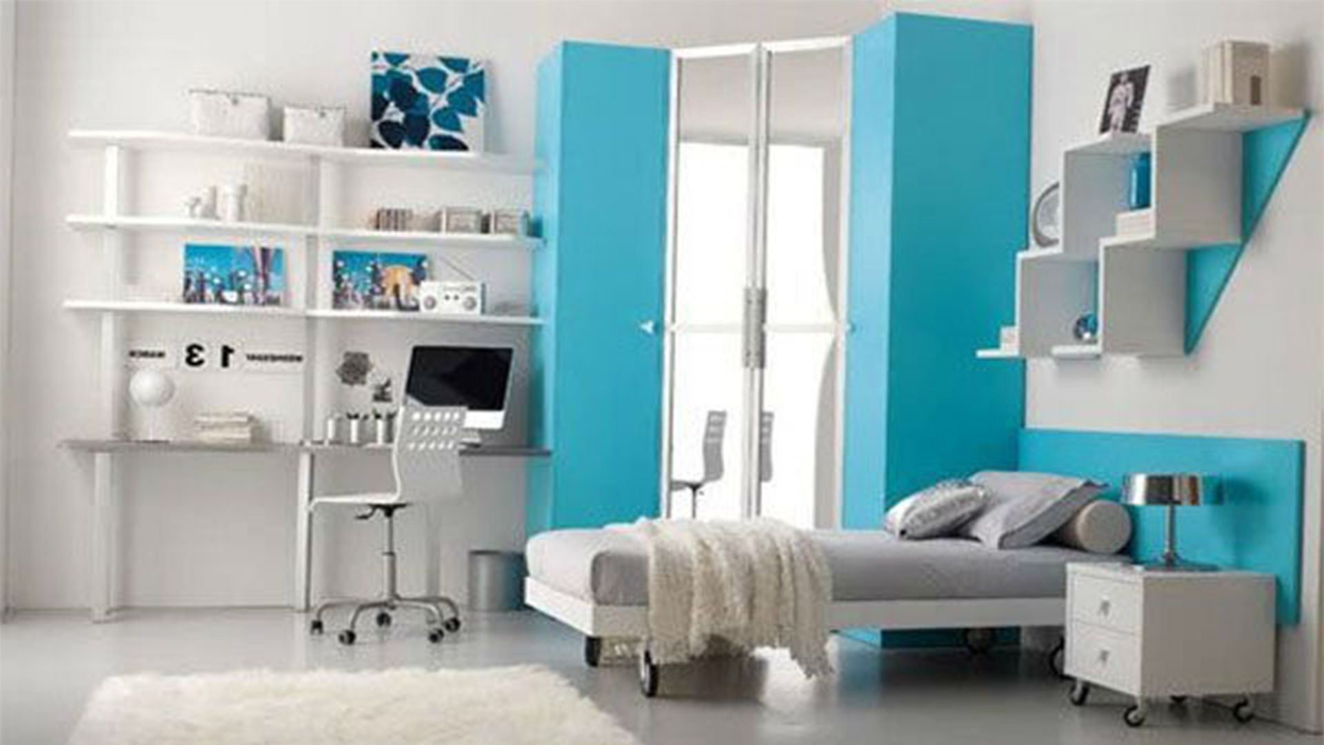 Cool bedroom wall designs for girls - Significant Blue Accents For Headboard And Storage To Complete White Teen Girl Bedroom