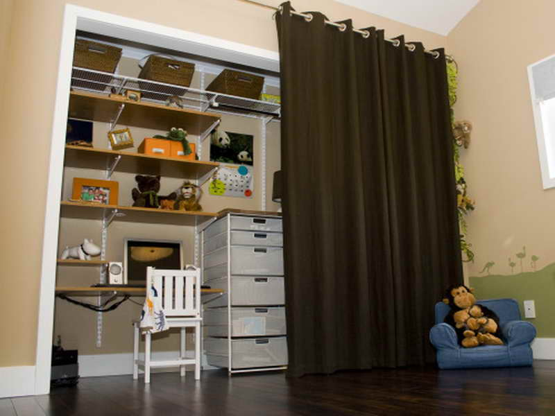 Simple Closet Door Idea Using Floor Length Curtain for Practical Use