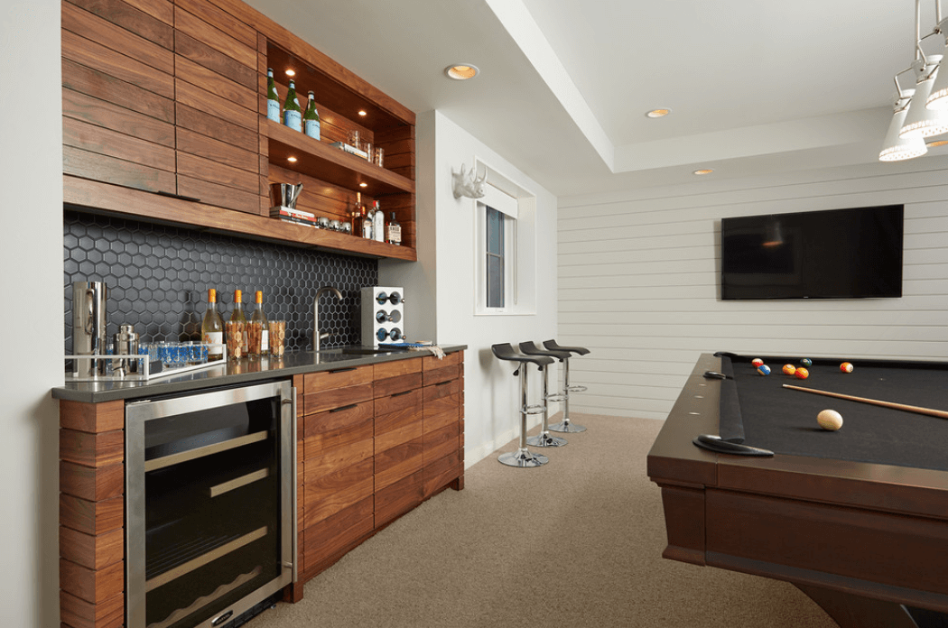 Simple Home Bar Ideas with White Wall Panel and Pool Table