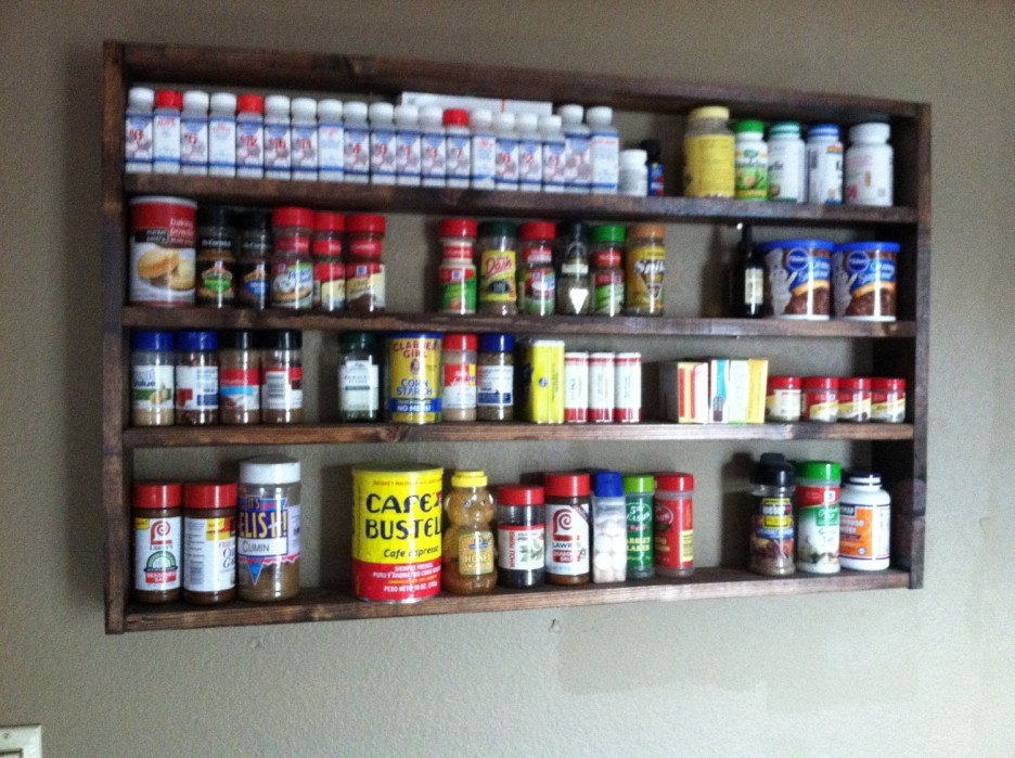 Simple Open Wall Shelving Unit Made from Wood to Keep and Display Spices