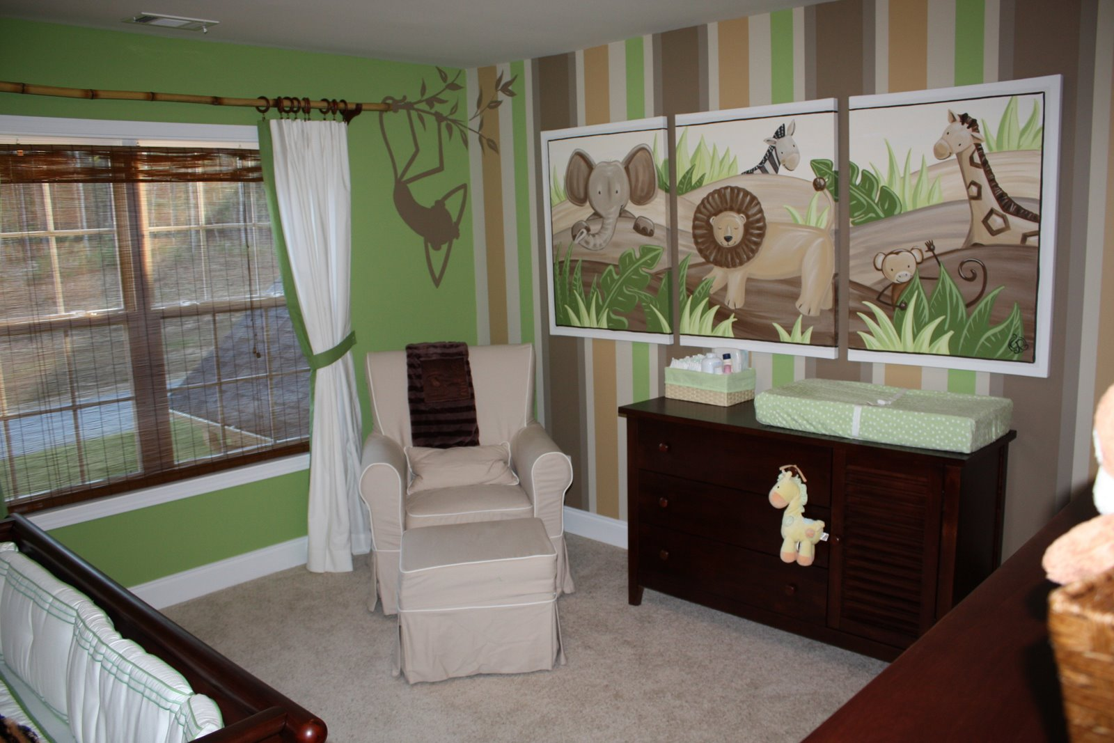 Simple Rectilinear Painting And Separated Mural To Create Focal Point Of Baby  Nursery Interior