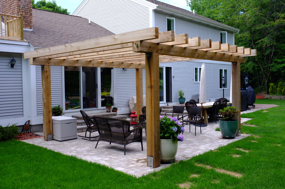 Simple Wooden Pergola with Outdoor Living and Dining with Black Furniture