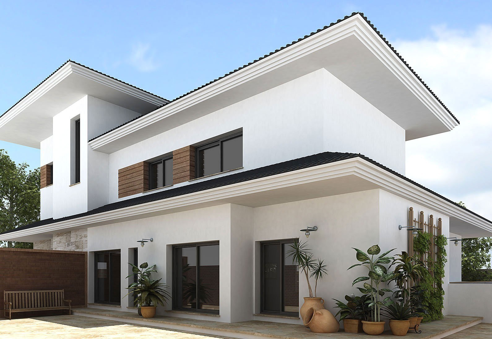 Merveilleux Sleek Modern Home Supported With White Exterior Paint Working With Wooden  Panels