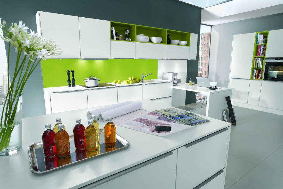 Sleek White Kitchen Cabinet Combined with Grey Flooring and Green Backsplash