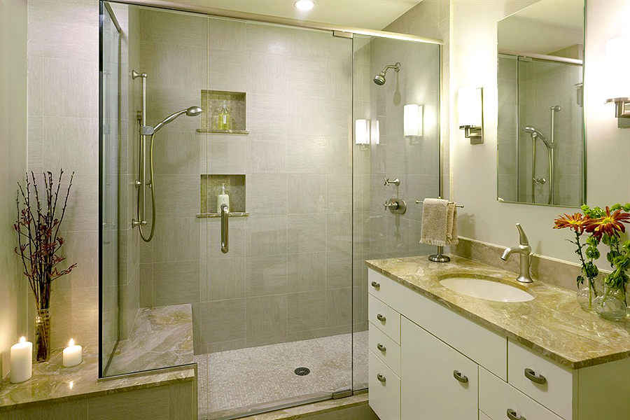Merveilleux Small Bathroom Remodel With Glass Shower With Seat And White Vanity With  Marble Top