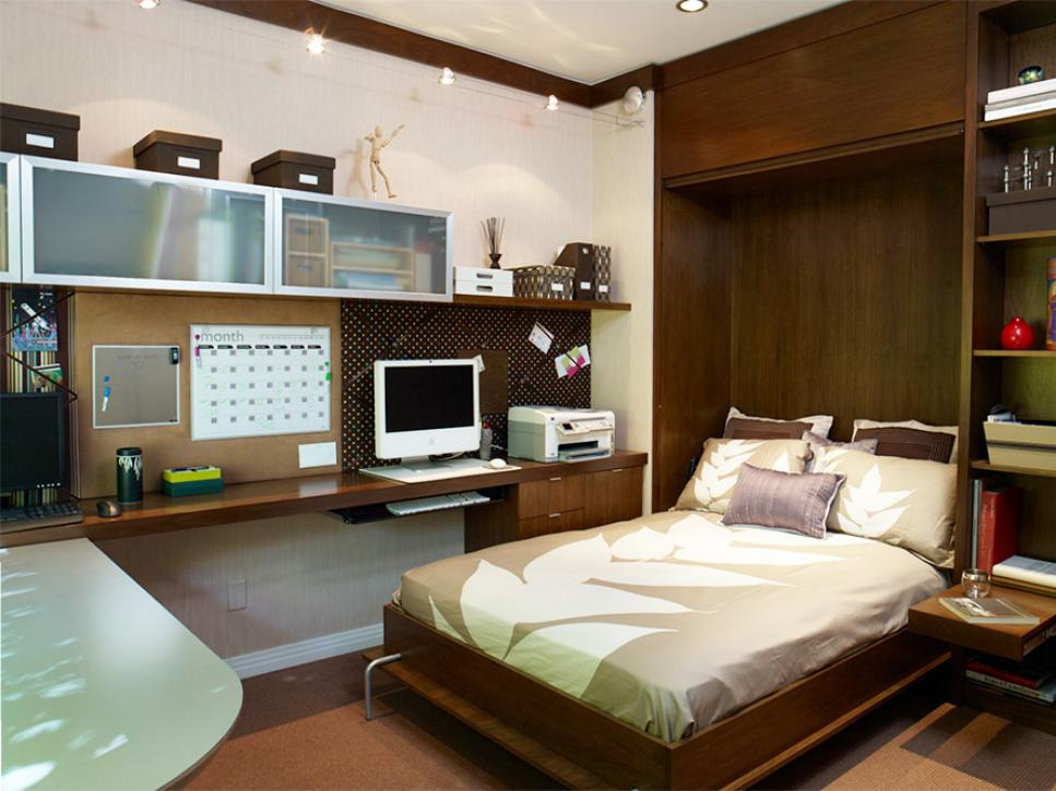 Small Bedroom Ideas with Wooden Bed and Long Oak Computer Desk under Floating Cabinets