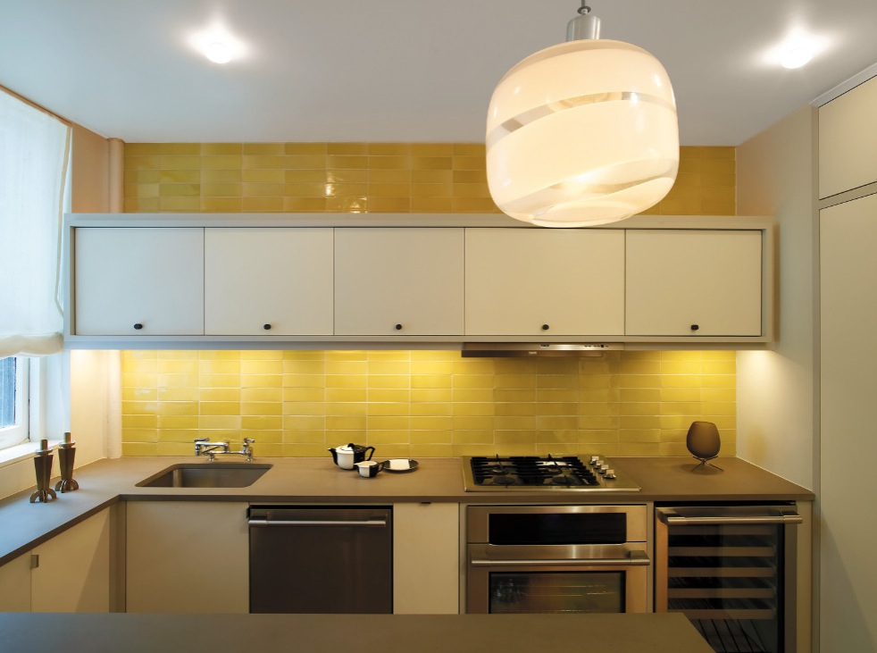 Small Kitchen With U Shaped Cabinet Completed With Alluring Yellow Subway Tile  Backsplash