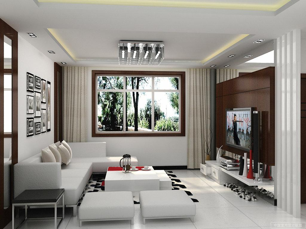 Small White Living Room with Contemporary Sofa Seater and Stunning Chandelier