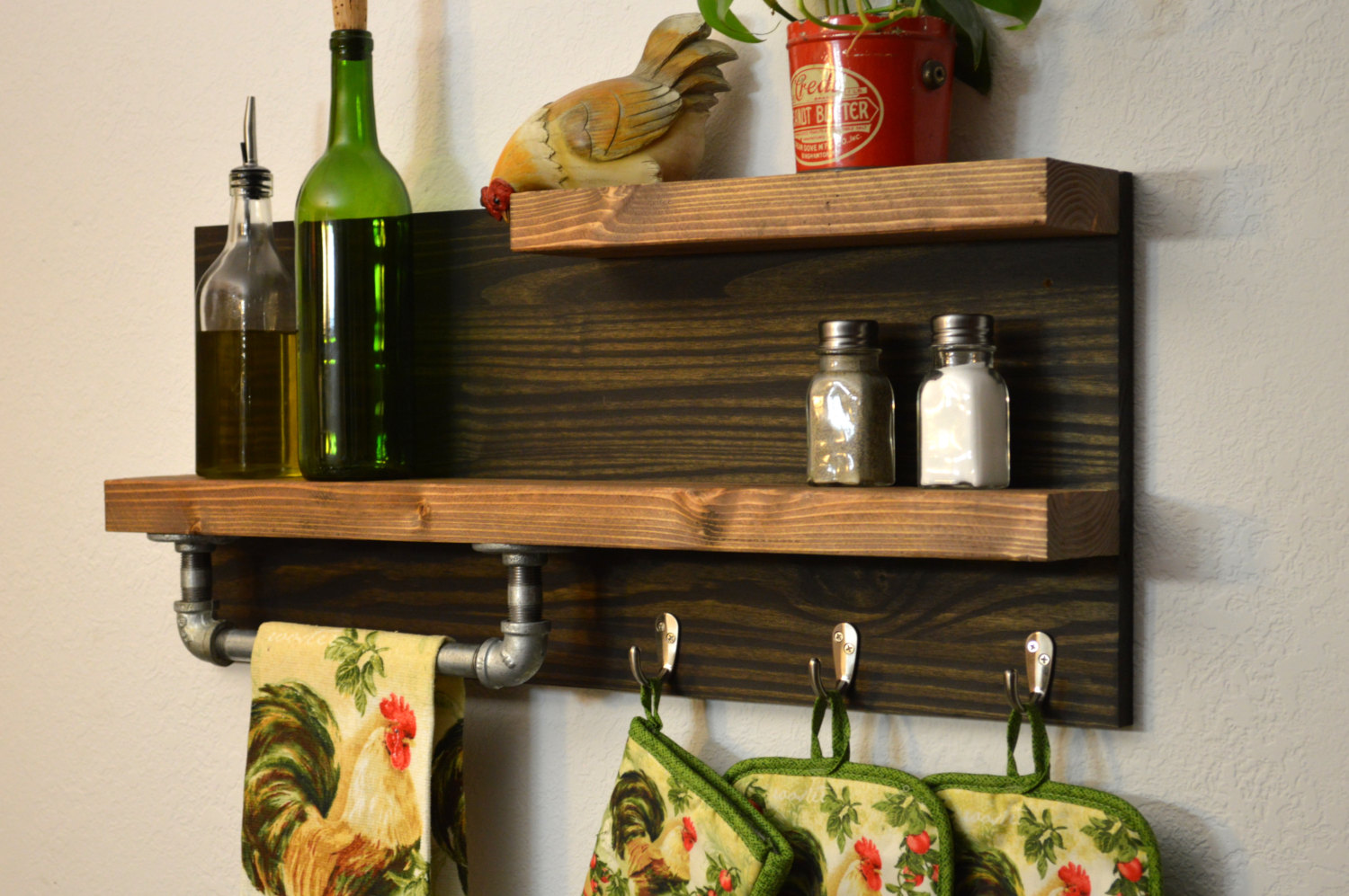 Small Wooden Spice Rack to Also Display Decorative Vase and Bottles