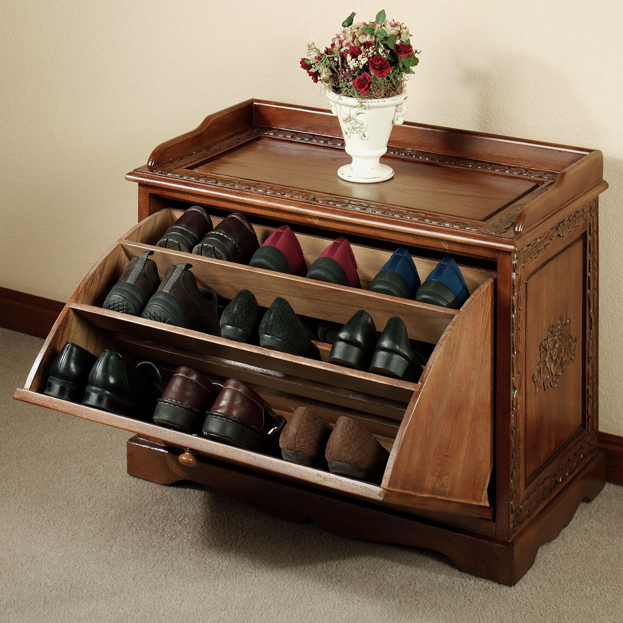 Bon Smart Bench Shoe Organizer To Keep More Shoes And Hide Them Inside
