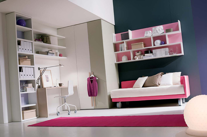 Smart Layout Idea of Bedroom for Girls with Seating Unit and Study Area Nearby
