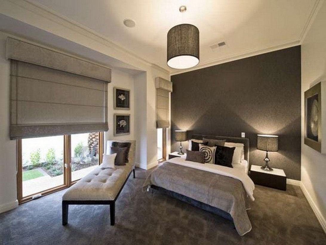 Soothing Master Bedroom with Perfectly Controled Lighting with Shade and Curtain